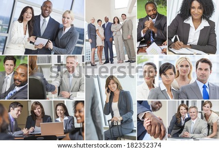 Successful teams of interracial business men & women businessmen, businesswomen using laptop & tablet computers, cell phones in meetings making deals & business travel