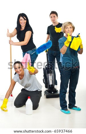 Successful teamwork of cleaning services workers giving thumbs up - stock photo