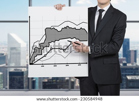 Successful trader is making a presentation of investment strategy. - stock photo