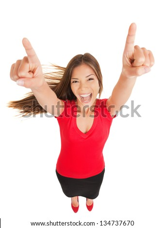 Successful woman cheering in jubilation laughing and pointing her hands to the sky, fun high angle full length portrait isolated on white background. Multicultural Asian Caucasian business woman - stock photo