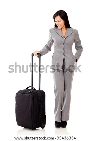Successful woman going on a business trip - isolated over a white background - stock photo