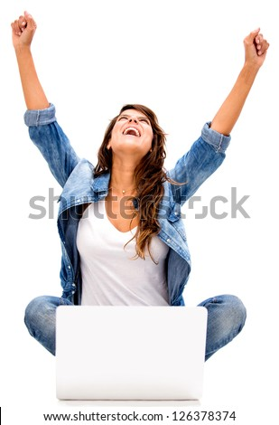 Successful woman online - isolated over a white background - stock photo