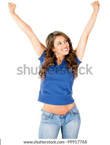 Successful woman with arms up - isolated over a white background - stock photo