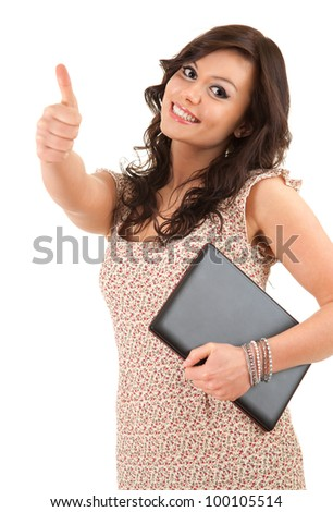 successful woman with laptop and thumb up, white background