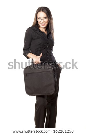 successful woman with laptop bag showing thumbs up