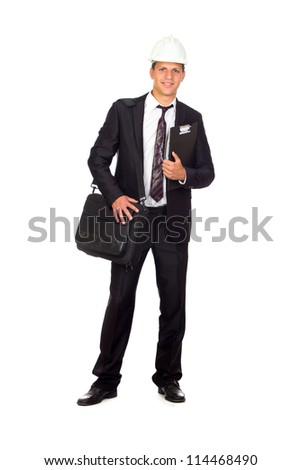 Successful young business man carrying a suitcase on white background
