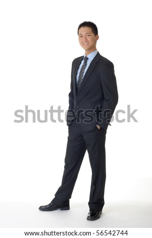Successful young business man of Asian, full length portrait isolated on white. - stock photo