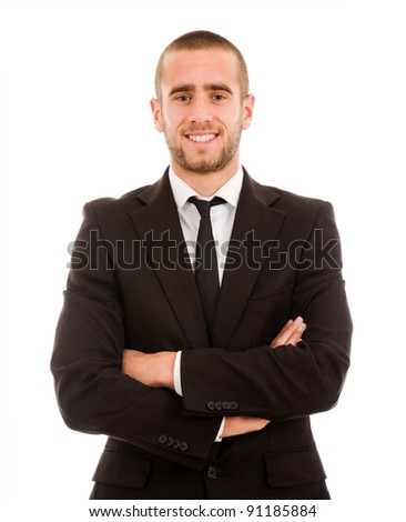 Successful young business man smiling against white background