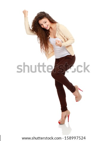 Successful young business woman happy for her success. Isolated on white background. - stock photo