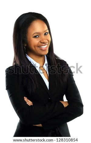 Successful young business woman with hands folded smiling over white background - stock photo