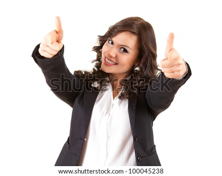 successful young business woman with thumbs up, white background