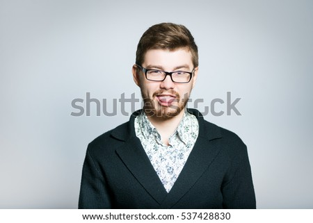 successful young businessman squeamish, stylish wear glasses, close-up manager