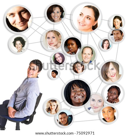 successful young man sitting on cahir with social network friends and business partners in a diagram - stock photo