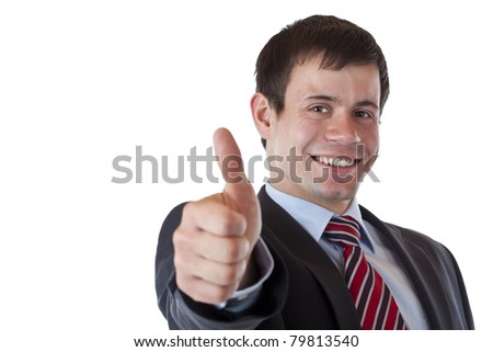 Successful young manager holds up thumb cheerfully.Isolated on white background. - stock photo