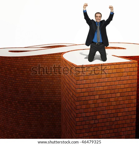successfull business man on the top of hard path