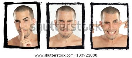 Succession of gestures of a young man mimicking see no evil, hear no evil, speak no evil - stock photo