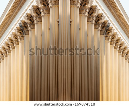 Succession of pillars in majestic and futuristic perspective - stock photo