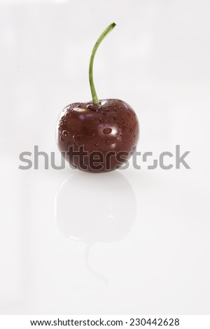Succulent fresh moist single Cherry on white background covered in water droplets - stock photo