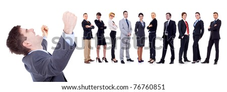 Sucessful business man on white background with business team behind - stock photo