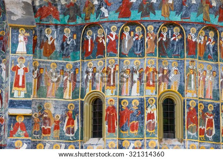 Sucevita, Romania, July 06, 2015: Sucevita Monastery, one of the famous painted monasteries in Romania, Unesco Heritage, Romania - stock photo