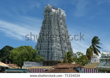 Suchindram temple dedicated to the gods Shiva, Vishnu and Brahma, protected by UNESCO. Kanniyakumari, Tamil Nadu, South India - stock photo