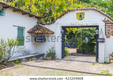 SUCHITOTO , EL SALVADOR - MAY 07 : Street view of Suchitoto El Salvador on May 07 2016. the colonial town of Suchitoto built by the Spaniards in the 18th century