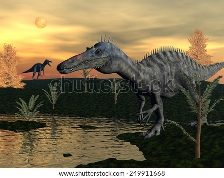 Suchomimus dinosaurs walking next to pond, pachypteris and bald cypres trees by sunset - 3D render - stock photo