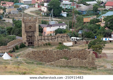 SUDAK, REPUBLIC OF CRIMEA, RUSSIA - AUG 07, 2014: The ruins of the medieval Genoese fortress in Sugdeya city (currently - Sudak)
