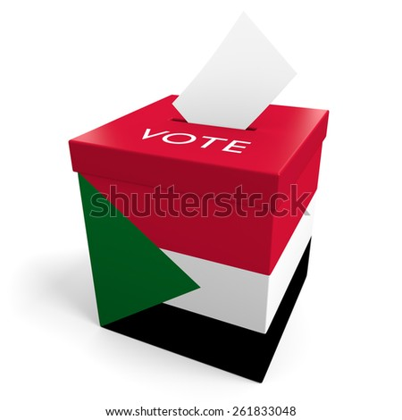 Sudan election ballot box for collecting votes - stock photo