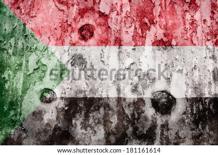 Sudan flag on a weathered grunge background - stock photo