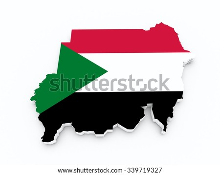 Sudan flag on 3d map