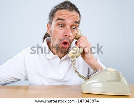 sudden telephone call - stock photo