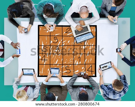 Sudoku Puzzle Solving Problem Solution Leisure Concept - stock photo