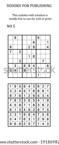 Sudoku with solution. Free to use on your website or in print. Search for number in series