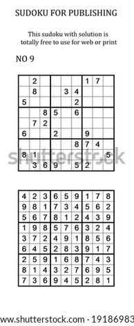 Sudoku with solution. Free to use on your website or in print. Search for number in series - stock photo