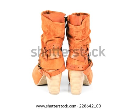 Suede Leather Women's Strapped Boots. Back View - stock photo