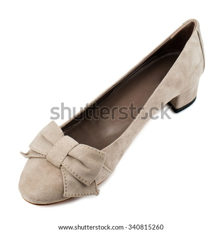 Suede shoe isolated on white background.Top view. - stock photo