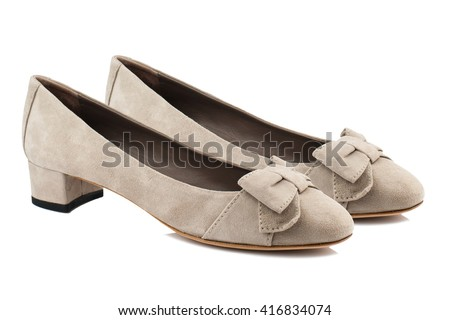 Suede women shoes isolated on white background. - stock photo