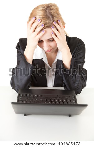 suffering from pain - young businesswoman with headache, white background