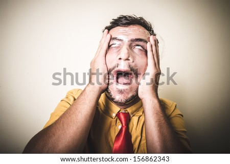 suffocating man with the plastic on white background