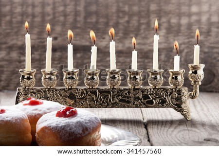 Sufganiyot, deep-fried donuts filled with jelly,  symbol of Hanukkah - stock photo