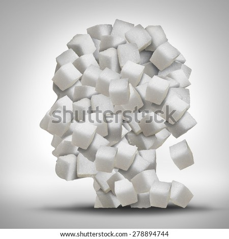 Sugar addiction concept as a human head made of white granulated refined sweet cubes as a health care symbol for being addicted to sweeteners and the medical issues pertaining to processed food. - stock photo