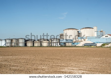 Sugar and alcohol factory near Orleans, France - stock photo