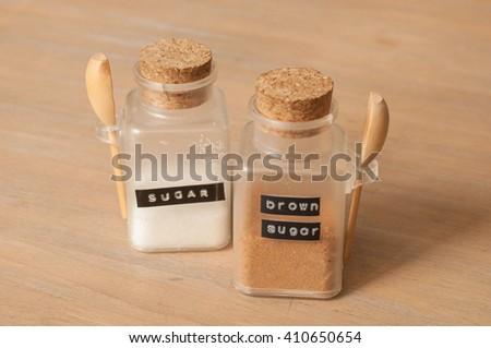 Sugar and brown sugar - stock photo