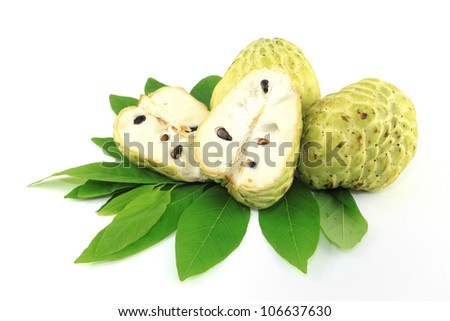 Sugar Apple and leaves on white background