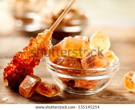 Sugar. Brown Sugar. Cane Sugar. - stock photo