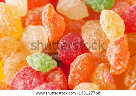 Sugar candies in different colors close up - stock photo