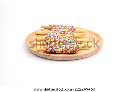 Sugar Cookie With Sprinkles  On White backrounds - stock photo