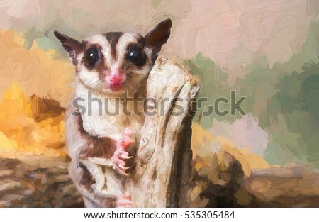 Sugar glider on a stump - painterly