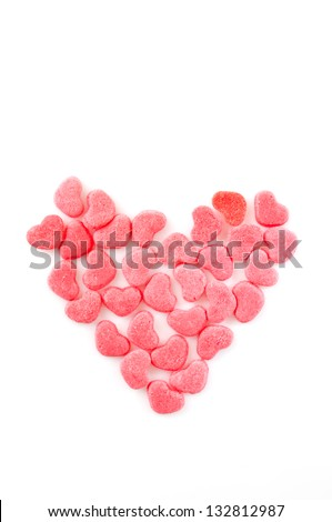 sugar hearts isolated on a white background